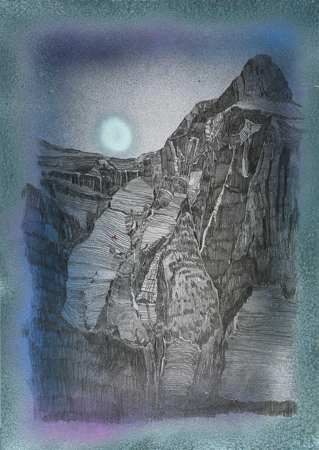 """aus der Serie """"The Martian Chronicles I"""" Acryl und Bleistift auf Papier 42 x 30 cm (Foto Jasha Greenberg) courtesy Galerie Krinzinger Wien"""