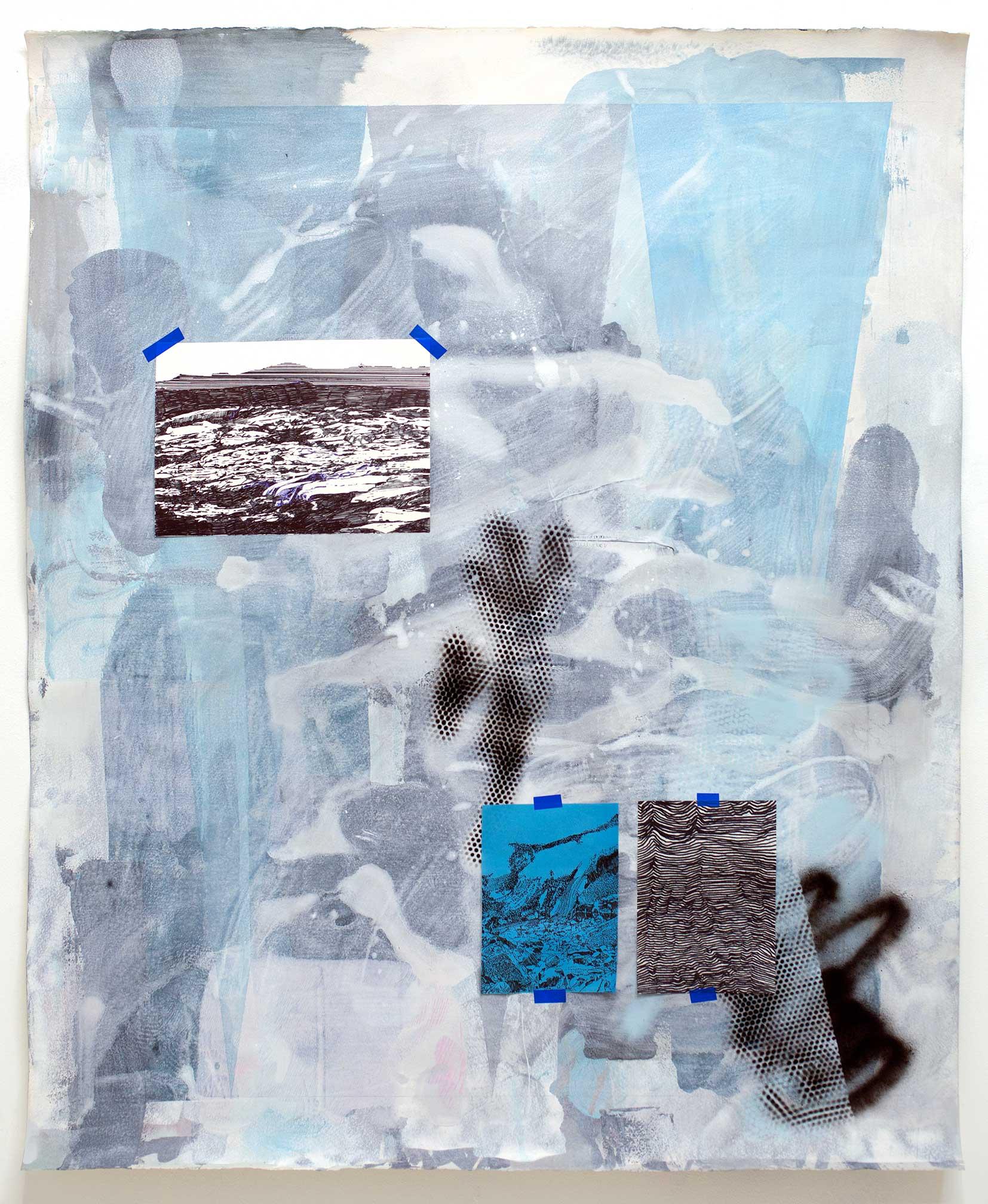 """""""with a pale light"""", 2017 Tusche, Collage, Acryl, Kugelschreiber, Bleistift und Klebeband auf Papier 124 x 101 cm"""