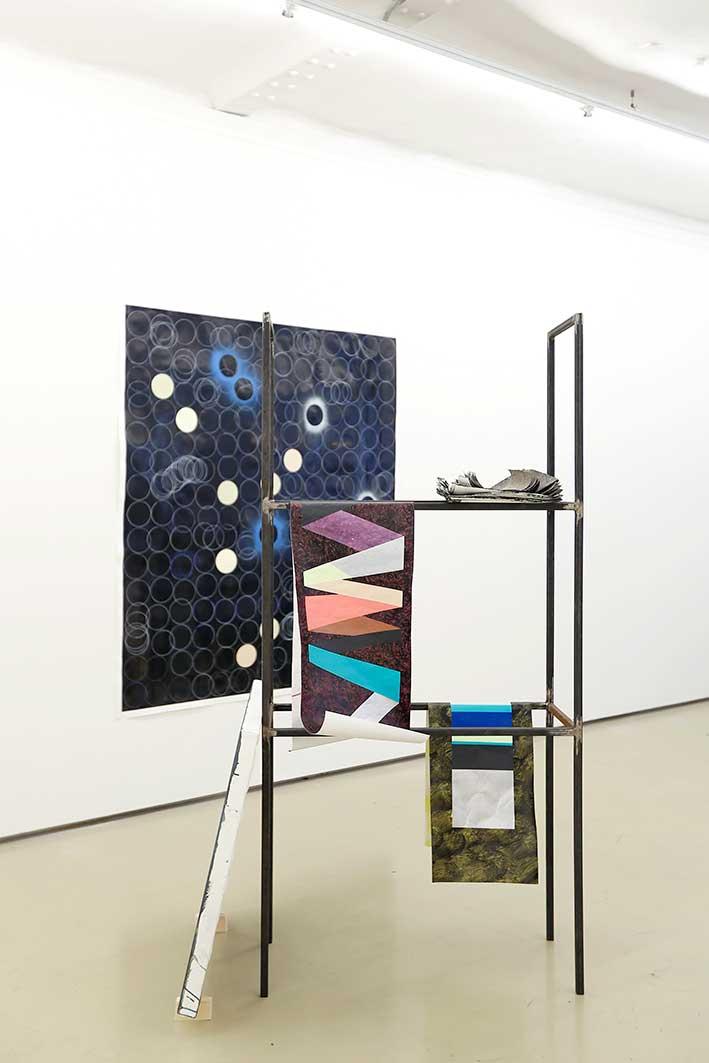 """Ausstellungsansicht """"AIR 2015"""", Krinzinger Projekte Wien """"The Martian Chronicles II"""" metal, ink, acrylic, pencil, canvas and paper 180 x 85 x 35 cm"""