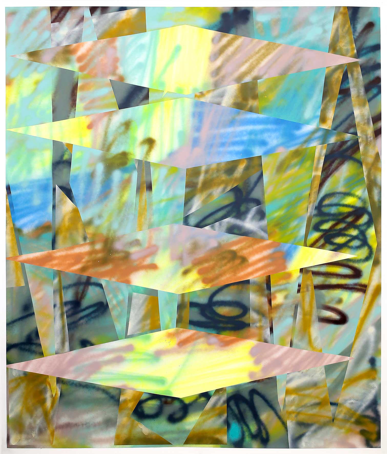 """""""Die Nacht teilt das Gewölk mit schnellen Drachen"""" Acryl auf Papier 200 x 150 cm (Foto Jasha Greenberg)"""