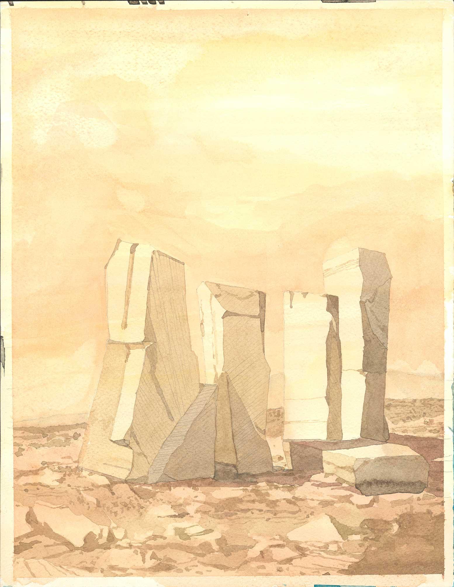 """a martian landscape"" Aquarell und Bleistift auf Papier 35 x 27 cm"