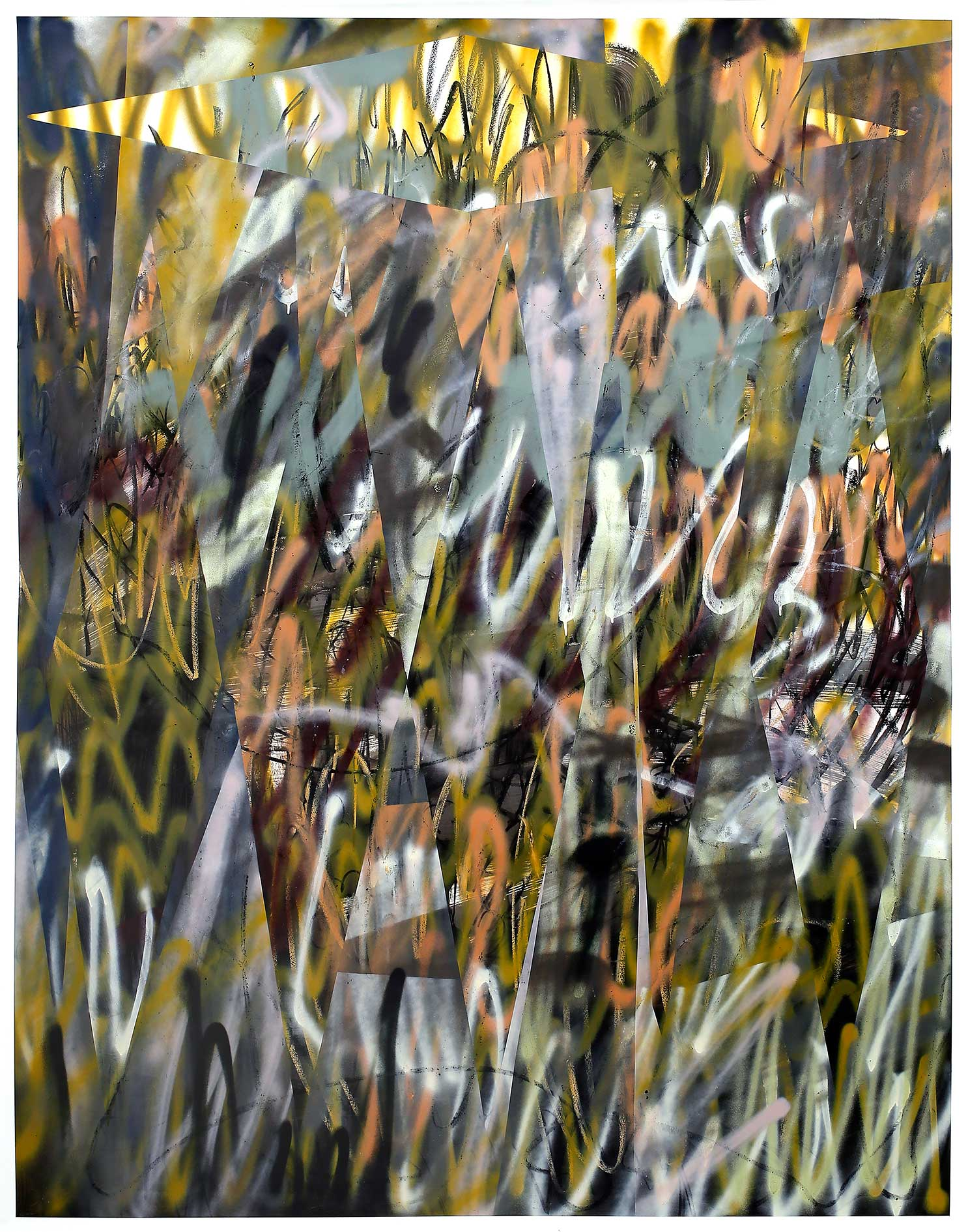 """""""mit schönen Strahlen golden überglühn"""" Acryl, Bleistift, Tusche und Kohle auf Papier 210 x 150 cm (Foto Jasha Greenberg)"""
