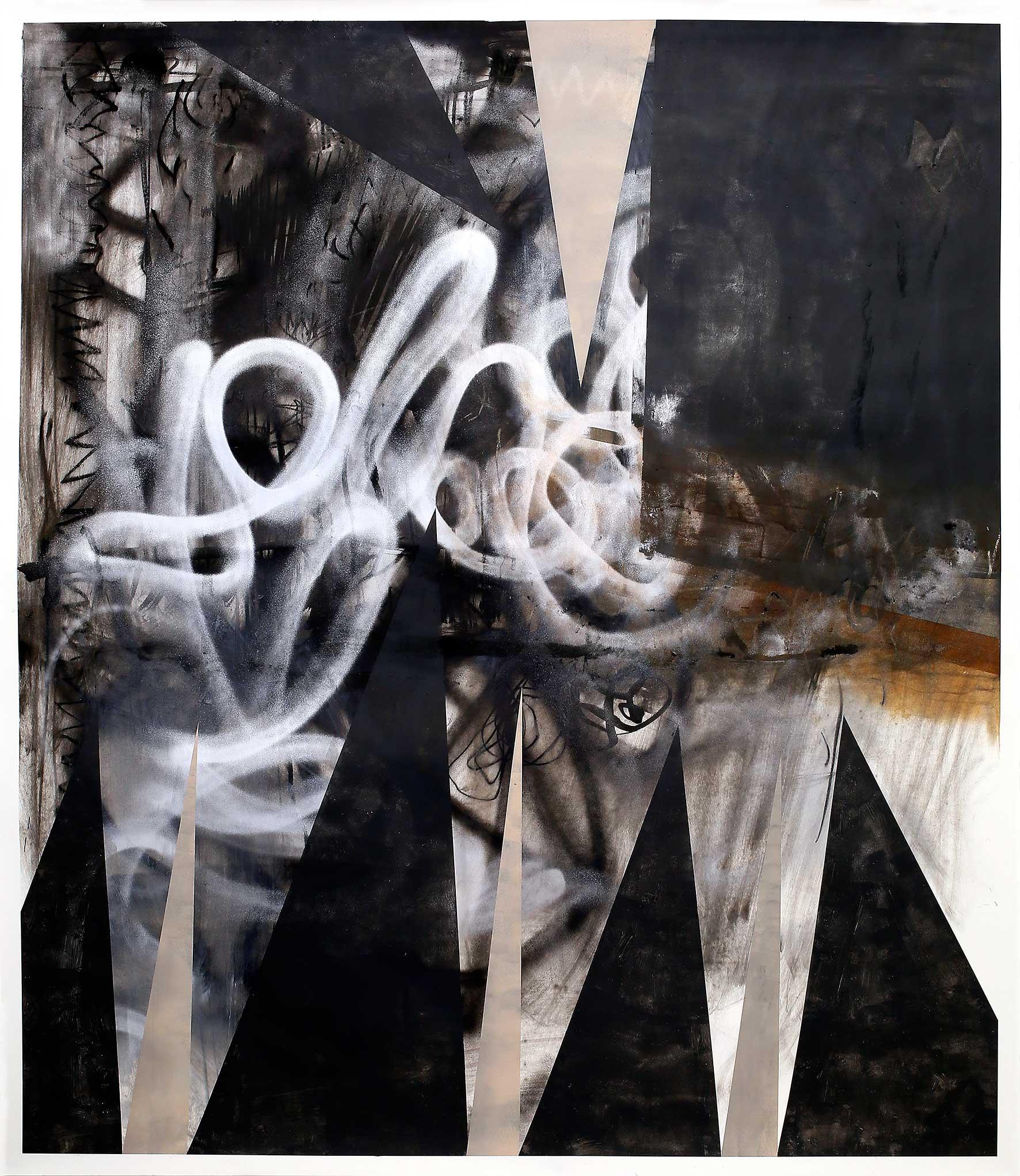 """""""vom Tau beschmutzt"""" Acryl, Tusche, Kohle, Ölkreide und Bleistift auf Papier 200 x 150 cm (Foto Jasha Greenberg)"""