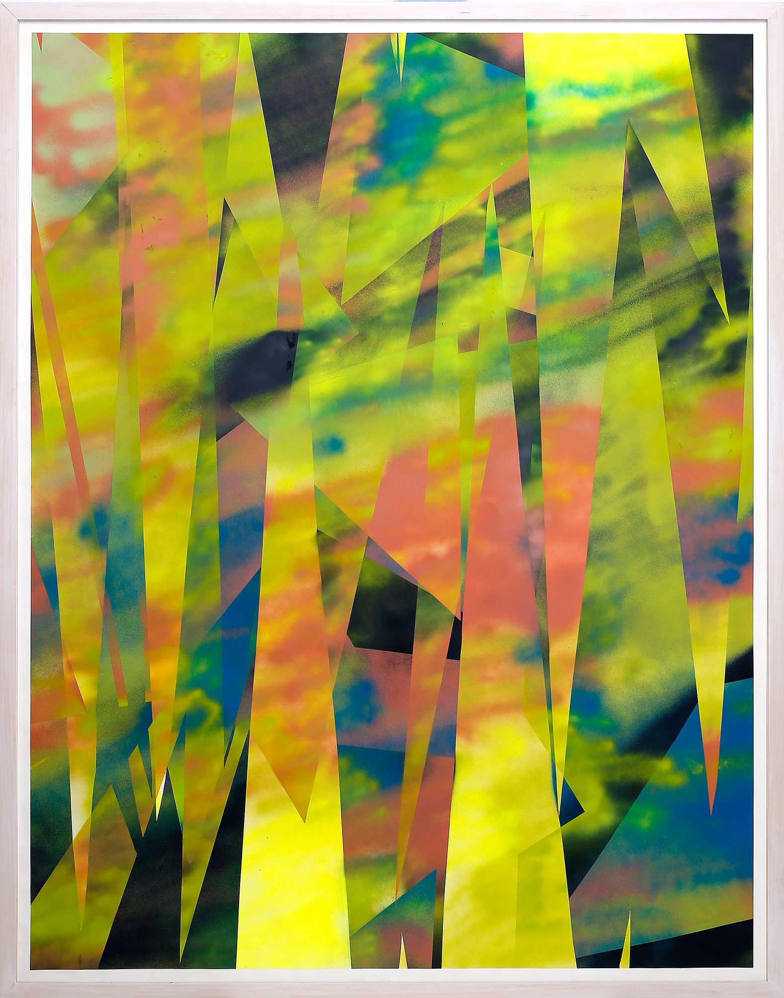 """""""von unbekannten Dingen ausgebiert"""" Acryl auf Papier 219 x 150 cm"""