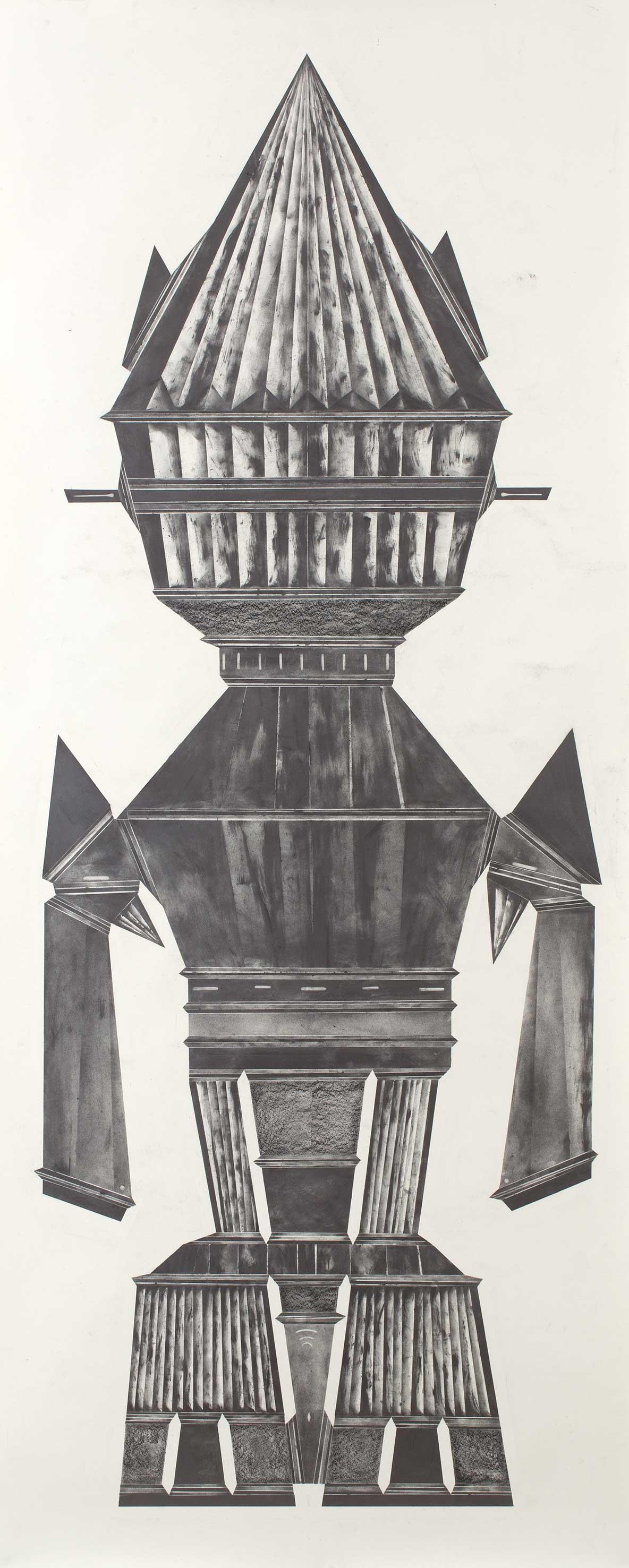 """""""sheltering from the sun and wind II"""" 300 x 100 cm Bleistift und Graphit auf Papier (Foto: Krinzinger Projekte / Jasha Greenberg)"""