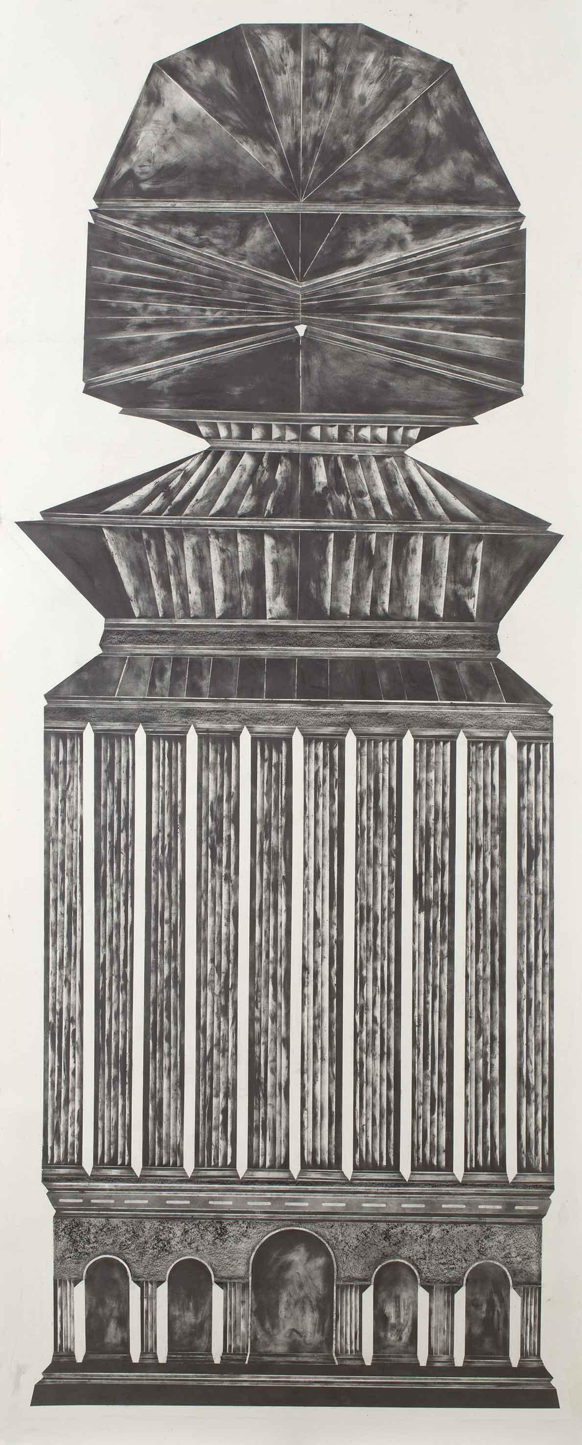 """""""sheltering from the sun and wind I"""" 300 x 100 cm Bleistift und Graphit auf Papier (Foto: Krinzinger Projekte / Jasha Greenberg)"""