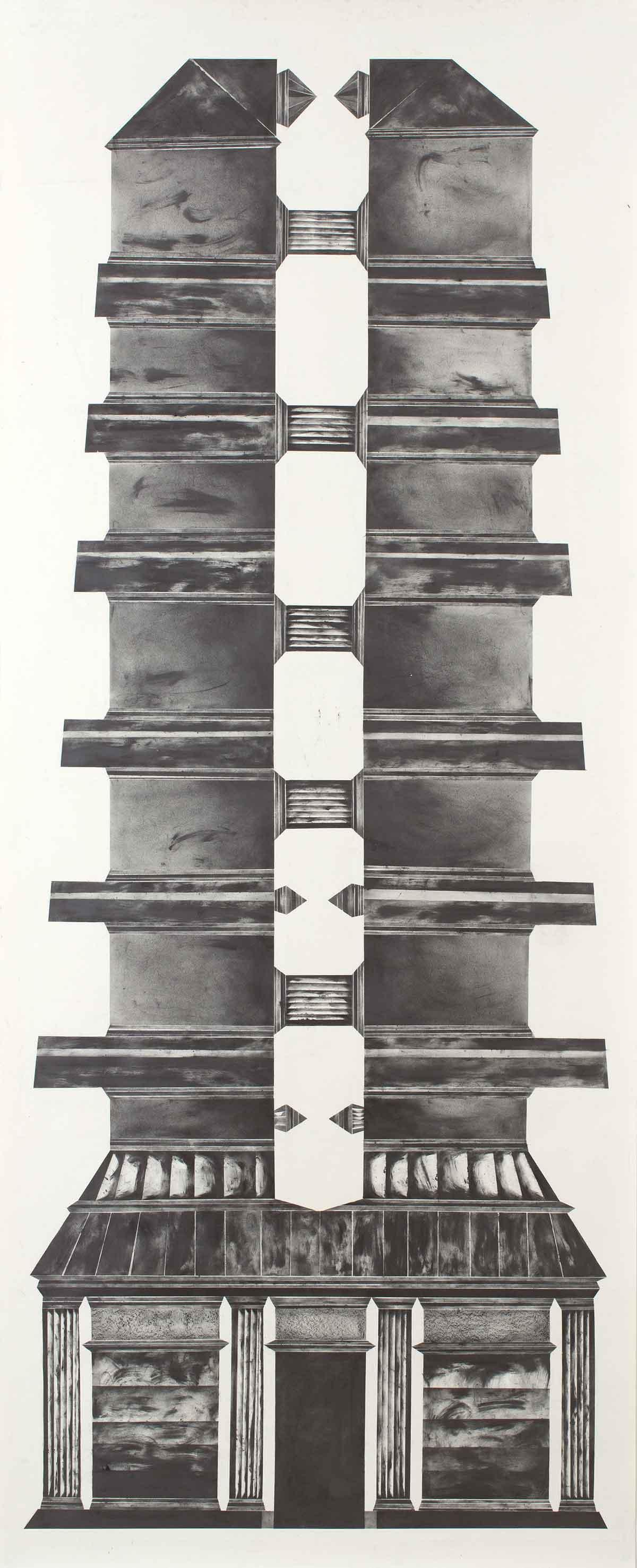 """""""sheltering from the sun and wind III"""" 300 x 100 cm Bleistift und Graphit auf Papier (Foto: Krinzinger Projekte / Jasha Greenberg)"""