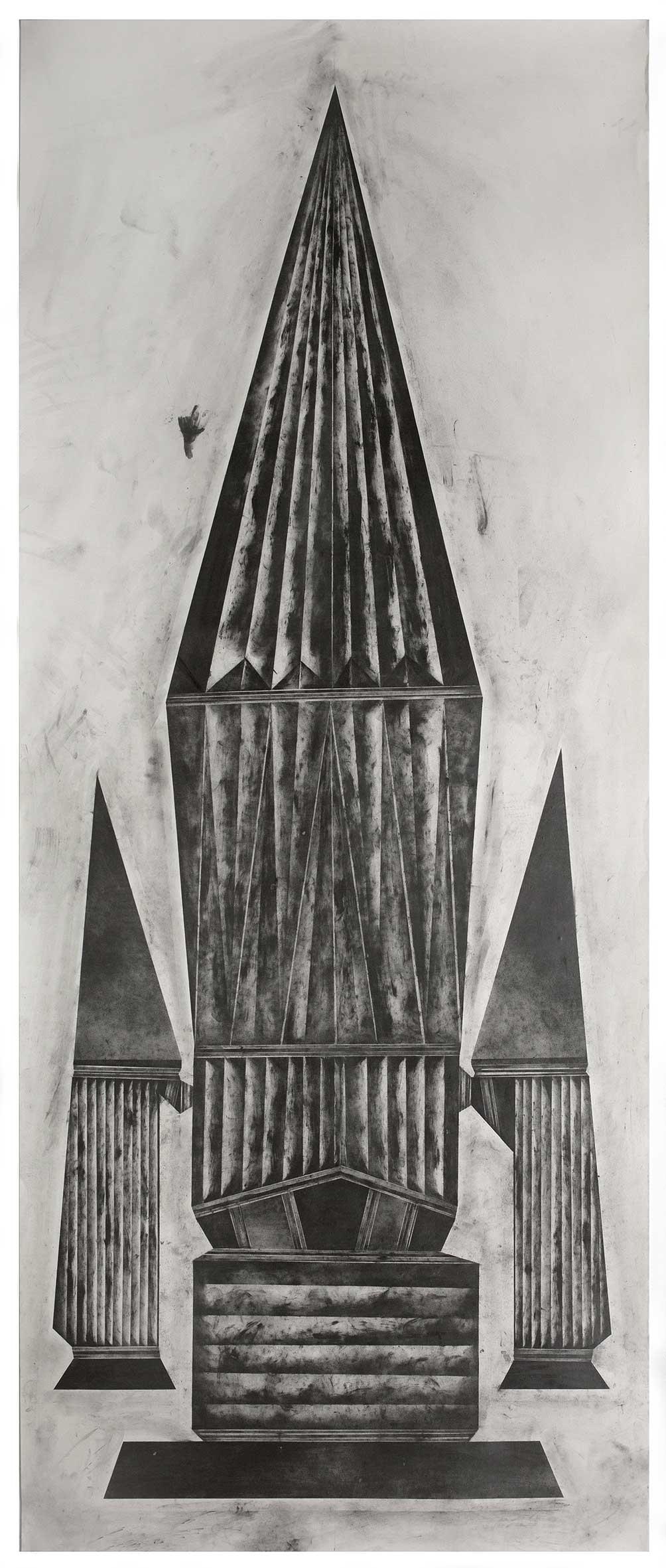 """""""edged more and more with brassy thunderlight V"""", 2017 - 2018 235 x 100 cm Bleistift und Graphit auf Papier (Foto: Jasha Greenberg"""