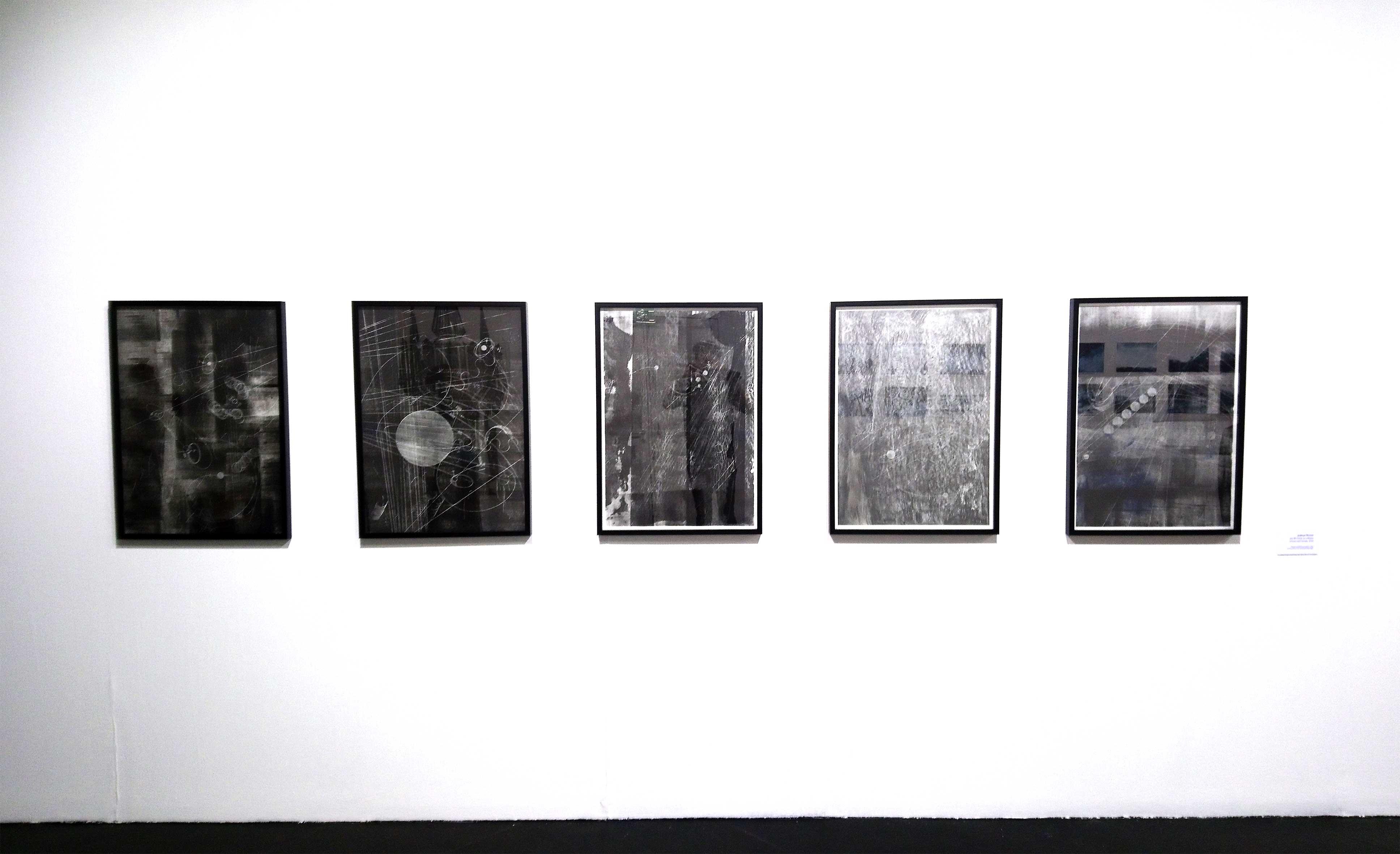 """Ausstellungsansicht """"not dark yet"""", Kunsthaus Muerz / Mürzzuschlag (kuratiert von Roman Grabner) aus der Serie: """"in a dream of suns and moons"""" 84 x 60 cm Ölfarbe, Erde und Bleistift auf Papier"""