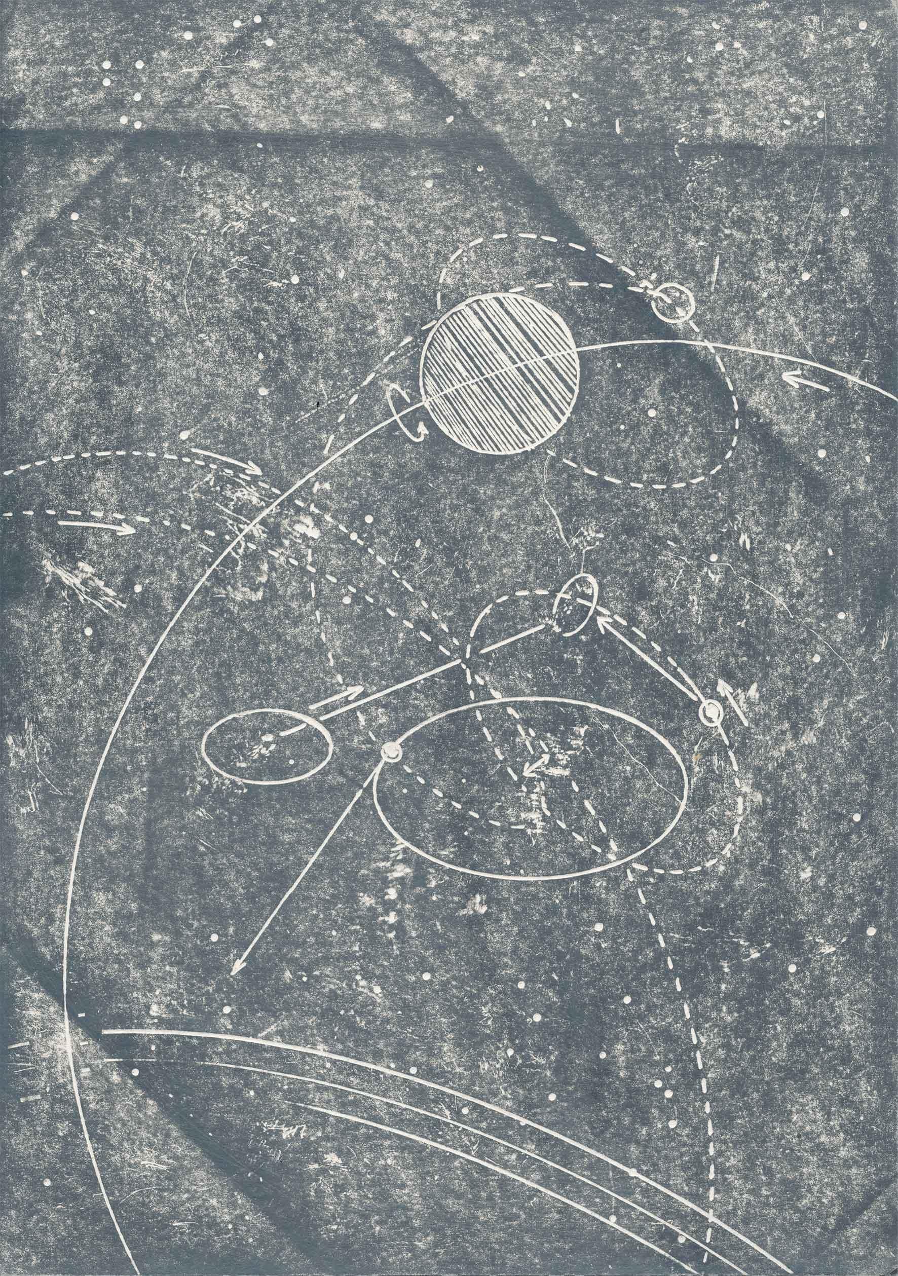 """aus der Serie: """"Raumrouten"""" Bleistift auf Papier 30 x 21 cm"""