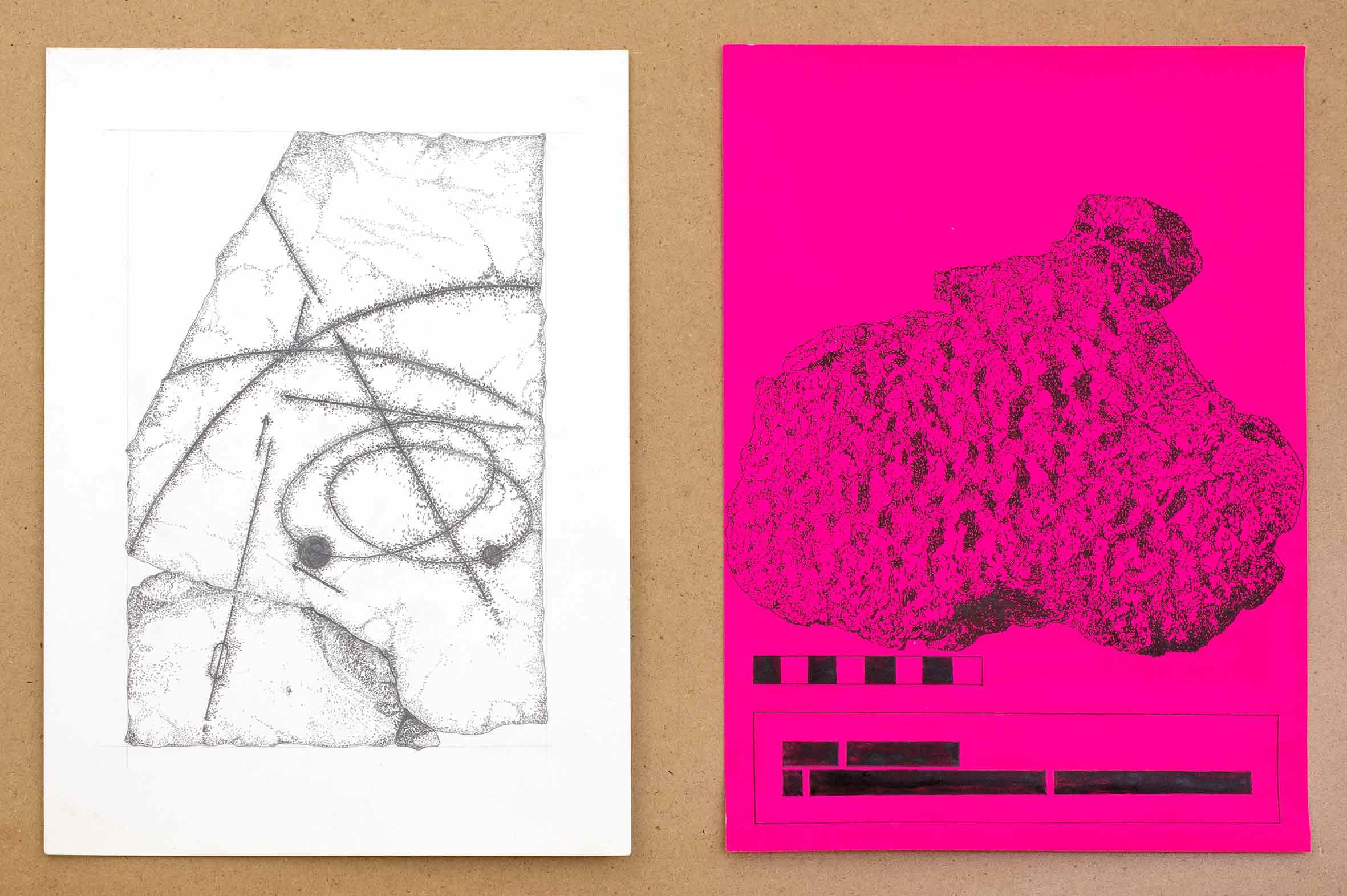 """Detailansicht """"in a dream of suns and moons"""", Tusche und Bleistift auf Papier, jeweils 30 x 21 cm (Foto: Krinzinger Projekte / Jasha Greenberg)"""