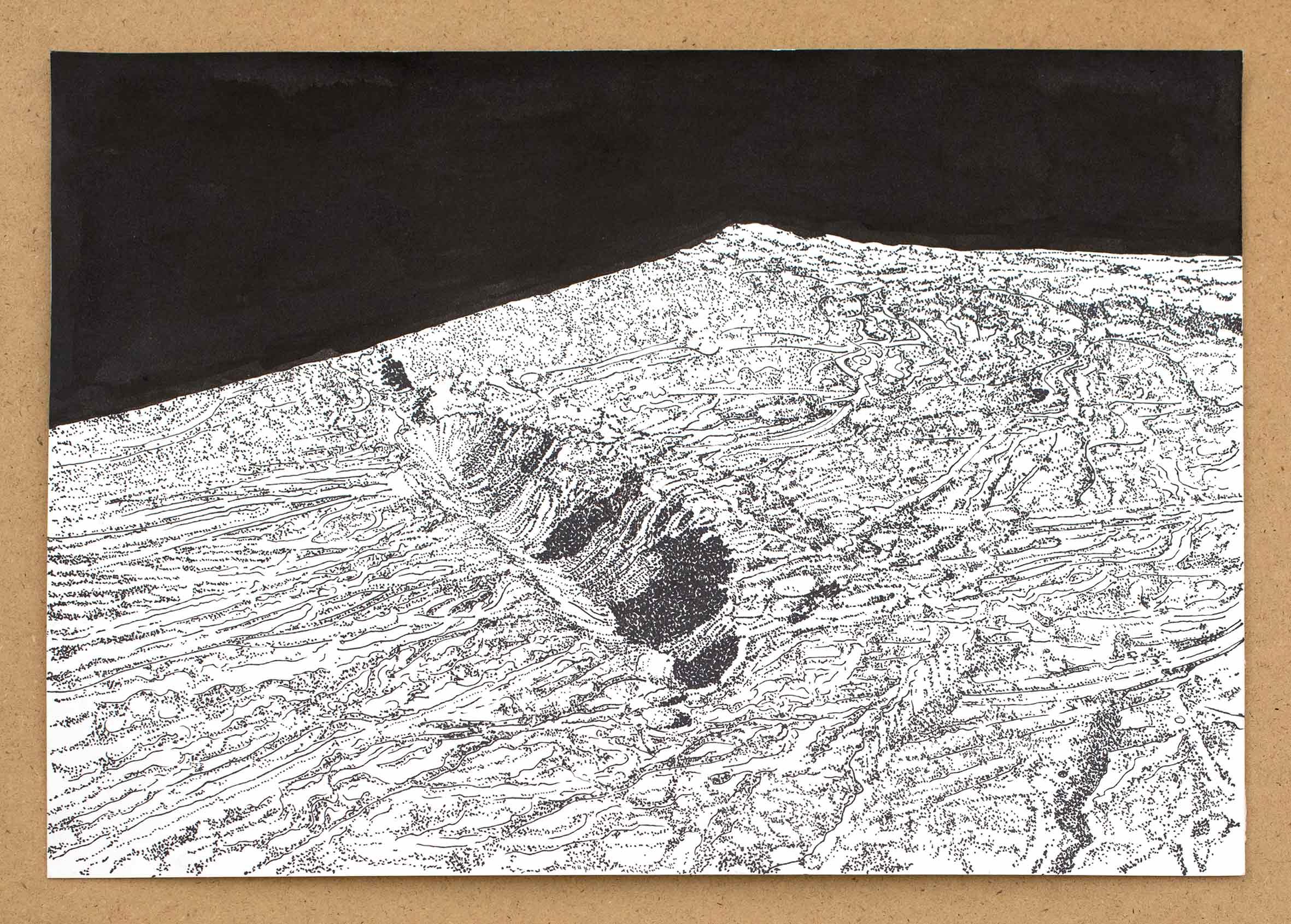 """Detailansicht """"in a dream of suns and moons"""", Tusche auf Papier, 21 x 30 cm (Foto: Krinzinger Projekte / Jasha Greenberg)"""
