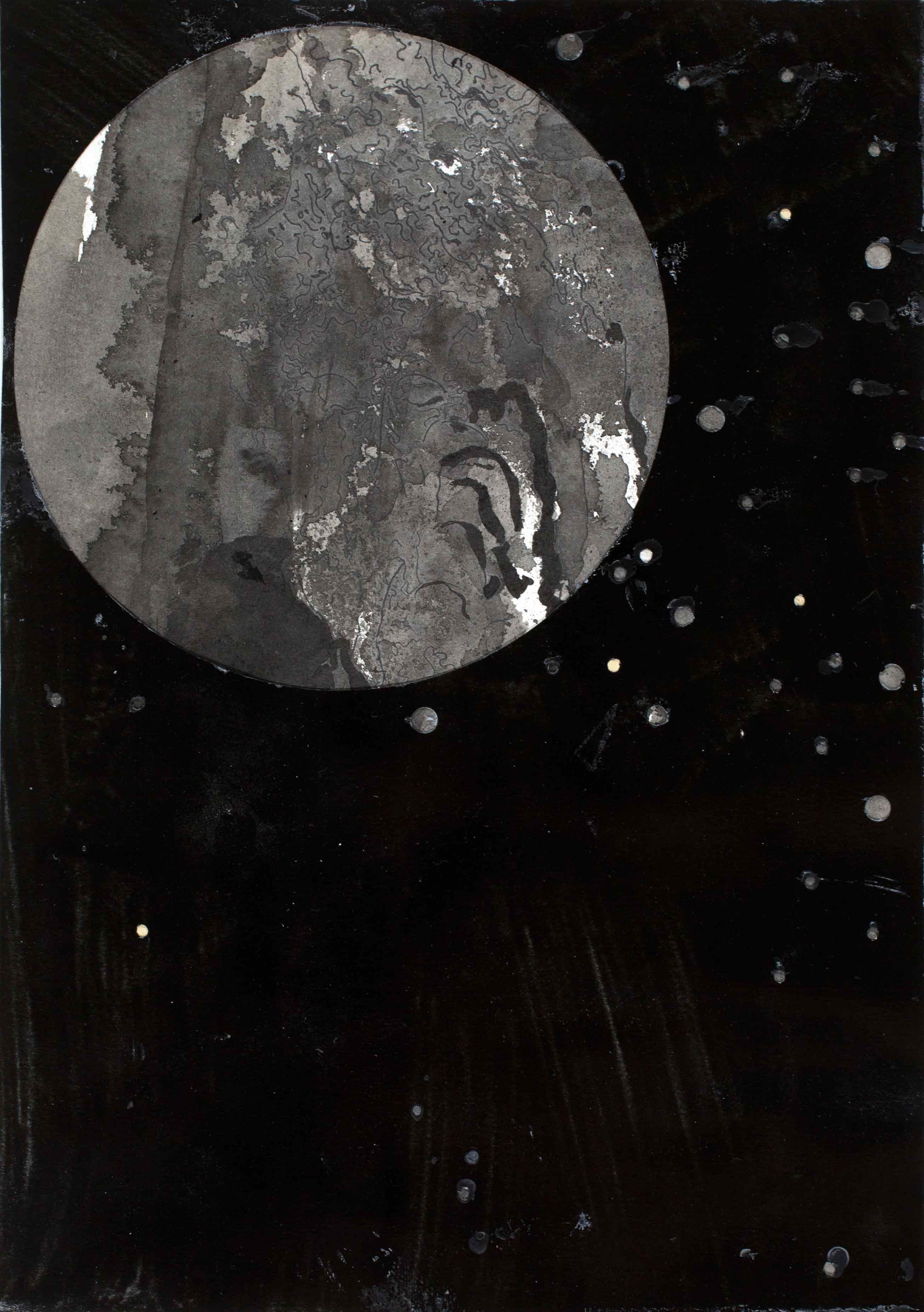 """aus der Serie """"every stone is lunatic that travels on the moon"""", Bleistift und Tusche auf Papier 30 x 21 cm (Foto: Krinzinger Projekte / Arnau Oliveras Segui)"""