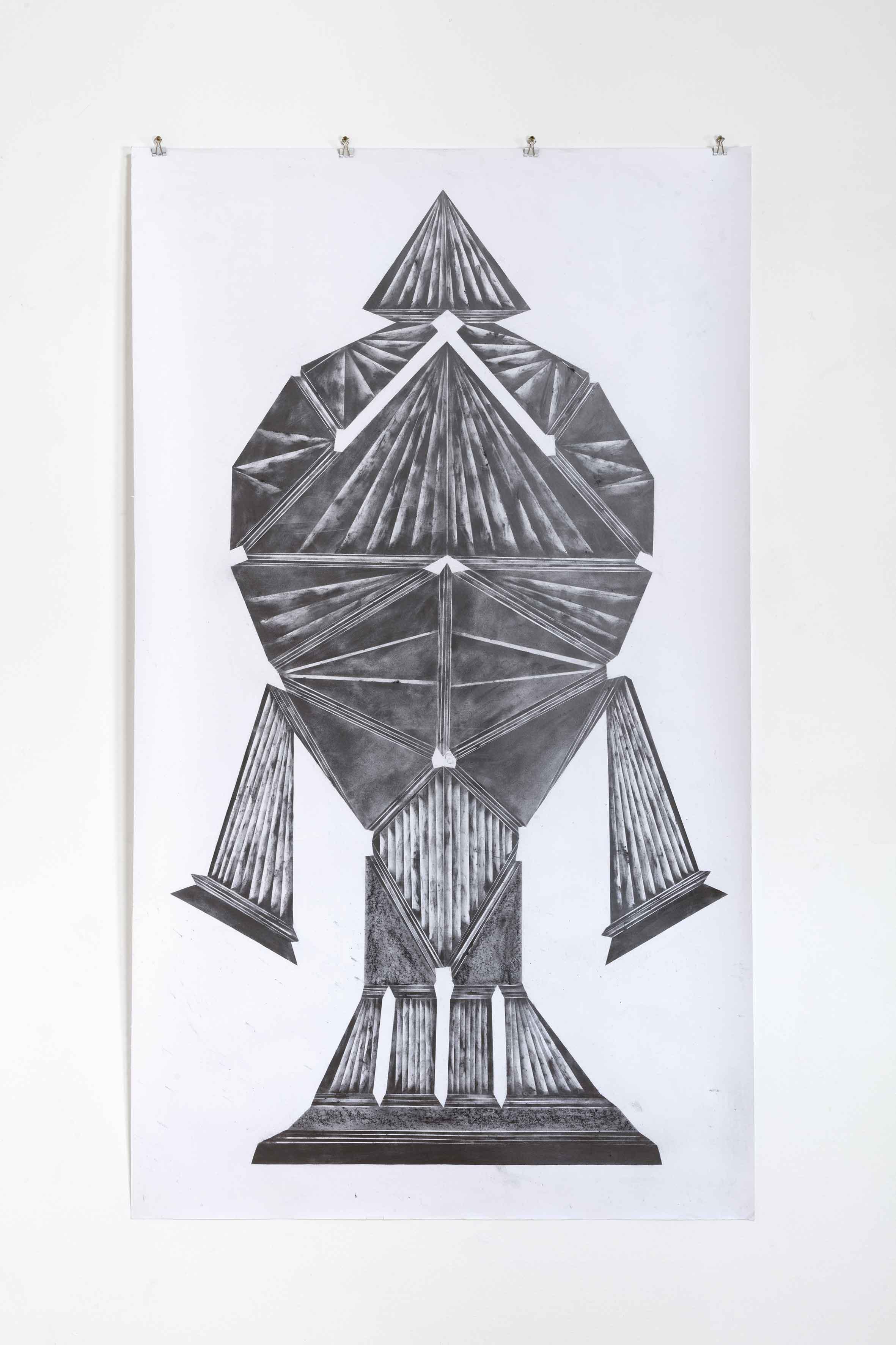 """""""in the mad abstract dark, ground it grain by grain I"""", Bleistift und Graphit auf Papier, 147 x 97 cm (Foto: VILTIN Gallery / Dávid Biró)"""