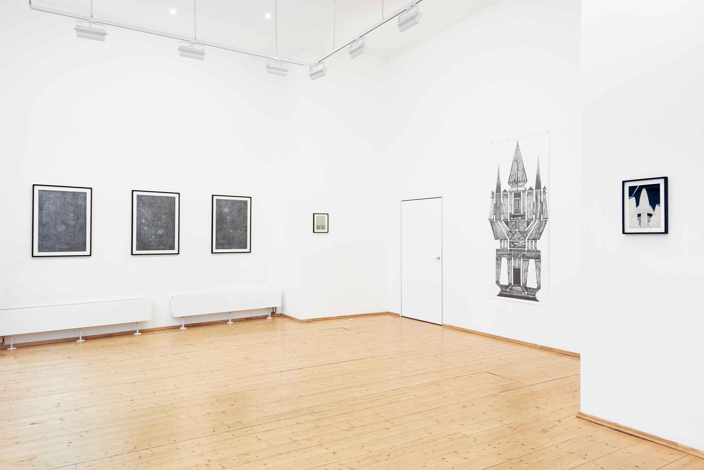 """Ausstellungsansicht """"WE DREAMED OF A PAST FUTURE - Andreas Werner"""", VILTIN Gallery Budapest 2019 (Foto: VILTIN Gallery / Dávid Biró)"""
