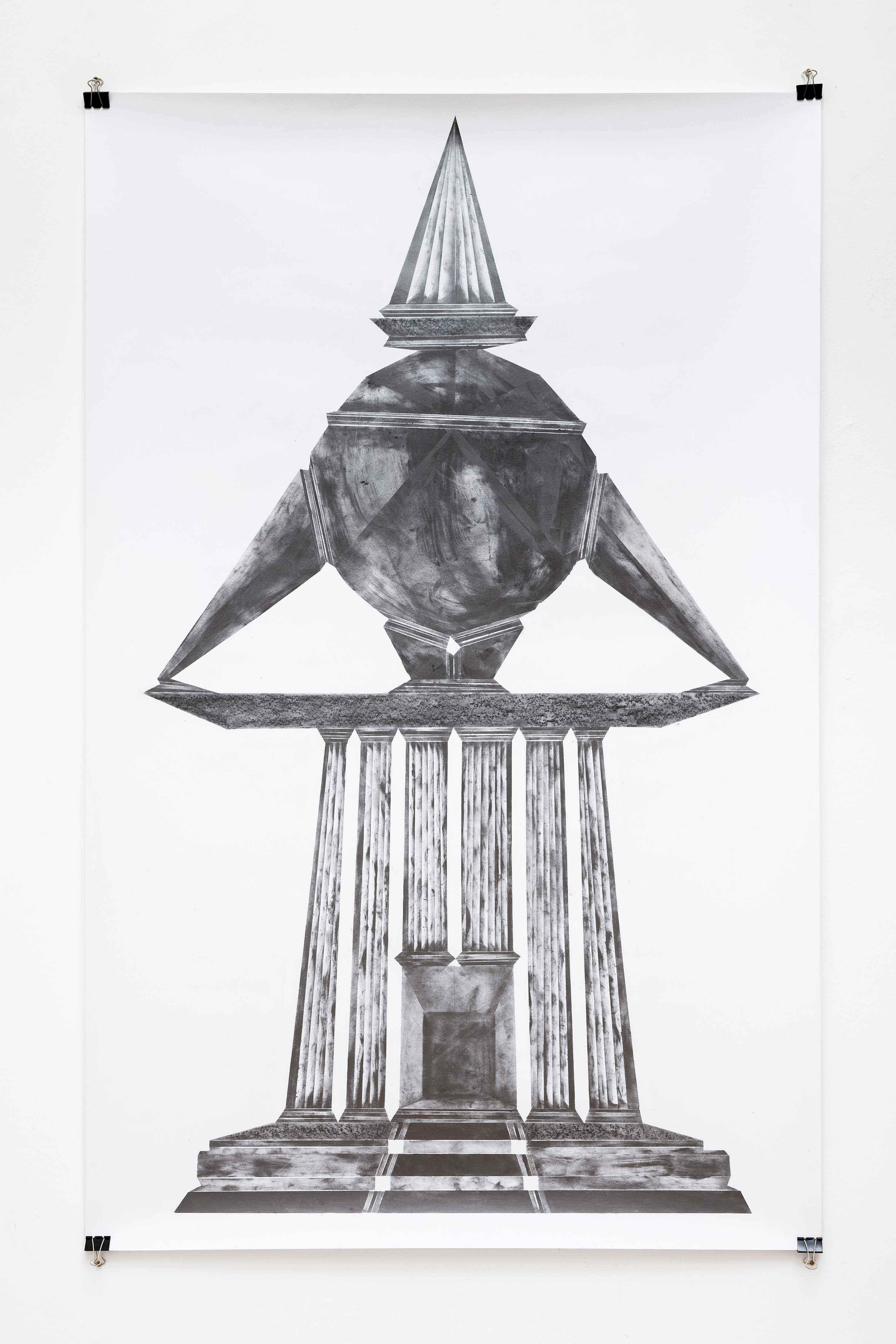 """""""in the mad abstract dark ground it grain by grain II"""", Bleistift und Graphit auf Papier, 147 x 97 cm (Foto: VILTIN Gallery / Dávid Biró)"""